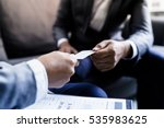 business executive exchanging... | Shutterstock . vector #535983625