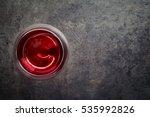 glass of red wine on dark gray... | Shutterstock . vector #535992826
