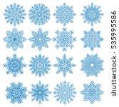 set of 16 decorative blue...   Shutterstock . vector #535995586