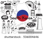 travel to south korean doodle... | Shutterstock .eps vector #536004646