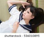 japanese student girl lady in...   Shutterstock . vector #536010895