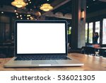 mockup image of laptop with... | Shutterstock . vector #536021305
