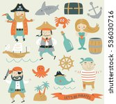 Vector Pirate Set With Cute...