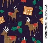 christmas pattern with deer.... | Shutterstock . vector #536042065