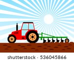 agricultural work  red tractor... | Shutterstock .eps vector #536045866