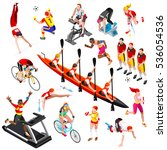sport icon isometric set with... | Shutterstock . vector #536054536