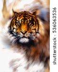 magical tiger in light swirl ...   Shutterstock . vector #536063536