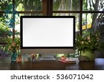 boho style workplace. the... | Shutterstock . vector #536071042