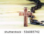Wooden Cross With Rusty  Metal...