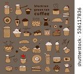 tea  coffee and desserts doodles | Shutterstock .eps vector #536117836