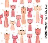cute cats seamless pattern for... | Shutterstock .eps vector #536137162
