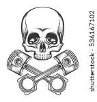 human skull and crossed engine...   Shutterstock .eps vector #536167102