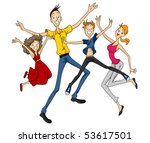 family jumping   vector | Shutterstock .eps vector #53617501