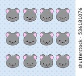 set of cartoon mouse stickers.... | Shutterstock .eps vector #536181076