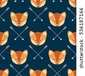 fox heads seamless pattern | Shutterstock .eps vector #536187166