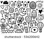doodles cute elements. black... | Shutterstock .eps vector #536200642