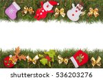 christmas frame made of fir... | Shutterstock . vector #536203276