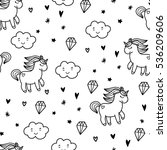 doodles cute seamless pattern.... | Shutterstock .eps vector #536209606