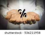 man holding hand on the percent ... | Shutterstock . vector #536211958