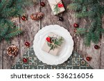 christmas plate with gift on... | Shutterstock . vector #536216056