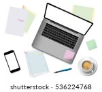 workplace in office with... | Shutterstock .eps vector #536224768
