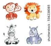 Stock photo cute baby animals for kindergarten nursery children clothing pattern 536238085