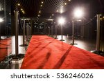 long red carpet between rope... | Shutterstock . vector #536246026