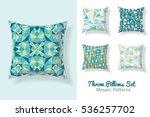 set of throw pillows in... | Shutterstock .eps vector #536257702