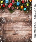 merry christmas frame with snow ... | Shutterstock . vector #536261446