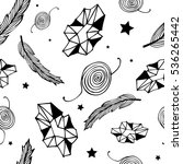seamless black hippie pattern... | Shutterstock .eps vector #536265442
