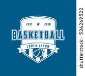 basketball emblem flat icon on... | Shutterstock .eps vector #536269522