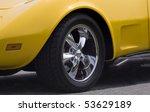 Chrome Wheel On Yellow Sports...