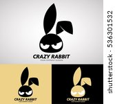 Stock vector crazy rabbit logo design on cute style for creative business rabbit farm or animal cafe etc logo 536301532