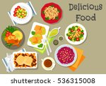 vegetable  meat and fish salads ... | Shutterstock .eps vector #536315008