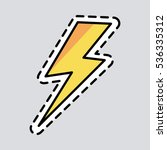 yellow lightning icon. cut it... | Shutterstock .eps vector #536335312