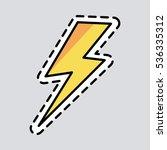 yellow lightning icon. cut it... | Shutterstock .eps vector #536335312