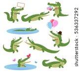 crocodile daily activities set. ... | Shutterstock .eps vector #536337292