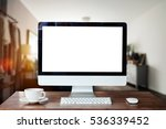 workspace with blank screen... | Shutterstock . vector #536339452