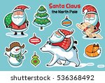 set of cute christmas character ... | Shutterstock .eps vector #536368492