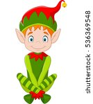 cartoon happy christmas elf... | Shutterstock .eps vector #536369548