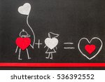 boy and girl on chalkboard.... | Shutterstock . vector #536392552