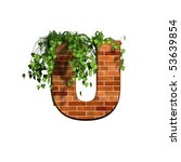 3d Letter With Brick Texture   U