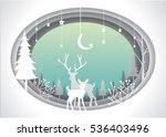 christmas card with countryside ... | Shutterstock .eps vector #536403496