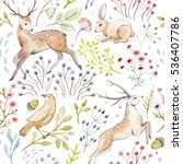 watercolor pattern deer and... | Shutterstock . vector #536407786