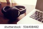 black headphone and laptop... | Shutterstock . vector #536408482