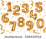 golden toy balloons and ribbons.... | Shutterstock .eps vector #536410516