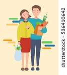 man and woman with shopping... | Shutterstock .eps vector #536410642