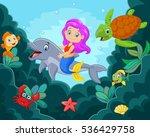 happy little mermaid playing in ... | Shutterstock . vector #536429758