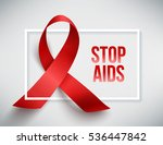 realistic red ribbon  world... | Shutterstock . vector #536447842
