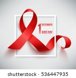 realistic red ribbon  world... | Shutterstock . vector #536447935